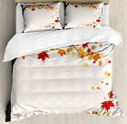 Fall Duvet Cover Set with Pillow Shams Flying Maple Leaf Seasons Print image