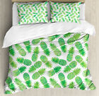 Green Duvet Cover Set with Pillow Shams Exotic Pineapple Pattern Print