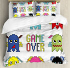 Video Game Duvet Cover Set with Pillow Shams Pixel Robot Emotion Print