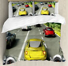 Video Game Duvet Cover Set with Pillow Shams Motor Sports Racing Print