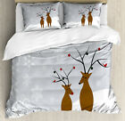 Christmas Duvet Cover Set with Pillow Shams Cute Reindeers Noel Print image