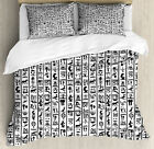 Egyptian Duvet Cover Set with Pillow Shams Hieroglyphics Language Print image