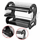 2-Tier Multi-function Stainless Steel Dish Drying Rack,Cup Drainer Strainer Home