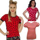 POLKA DOT RED WHITE STRIPE T SHIRT FANCY DRESS  WALLY WOMENS SHORT SLEEVED