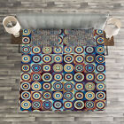 Geometric Quilted Bedspread & Pillow Shams Set, Ring Formed Circles Print image