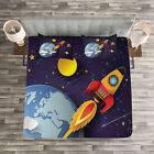 Space Quilted Bedspread & Pillow Shams Set, Rocket Earth Stars UFO Print image