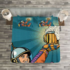 Astronaut Quilted Bedspread & Pillow Shams Set, Astronaut Holds Beer Print