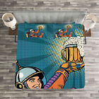 Astronaut Quilted Bedspread & Pillow Shams Set, Astronaut Holds Beer Print image