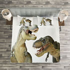 Dinosaur Quilted Bedspread & Pillow Shams Set, T-Rex Pair Predators Print image