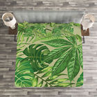 Green Leaf Quilted Bedspread & Pillow Shams Set, Fresh Jungle Aloha Print image