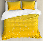 Yellow Duvet Cover Set with Pillow Shams Ombre like Beer Glass Print