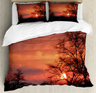 African Duvet Cover Set with Pillow Shams Sunset at Kwand...