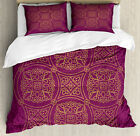 Purple Mandala Duvet Cover Set with Pillow Shams Persian Ornate Print image
