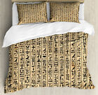 Egyptian Duvet Cover Set with Pillow Shams Ancinet Hieroglyphs Print image