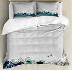 Japanese Wave Duvet Cover Set with Pillow Shams Aquatic Swirls Print