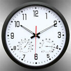 14inch Silent Round Quartz Wall Hanging Clock With Temperature Humidity Display