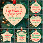 First Christmas ENGAGED Couple PERSONALISED Xmas Tree Decoration Bauble 1st Gift