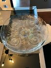 "Indina Glass /L E Smith Colony Pinwheel & Star Punch Bowl Torte Underplate (22"")"