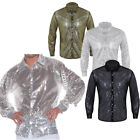 Mens Shiny Sequins Dance Performance Long Sleeve Shirt See through Mesh Costume