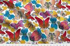 Large Multicolored Butterflies Fabric Printed by Spoonflower BTY