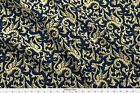 Dragons Dragon Ornamental Medieval Damask Navy Fabric Printed by Spoonflower BTY