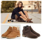 New UGG BNIB £155 Suede Leather Fur Women's Ankle Cowboy Biker Shoes Boots