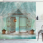 Retro Shower Curtain Old Gate and Curtain Print for Bathroom