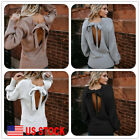 Knit Women Winter Backless Wool Cardigans Blouse umper Top Pullover Sweaters