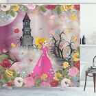 Kids Shower Curtain Fairy Tale Theme Cartoon Print for Bathroom