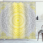 Grey and Yellow Shower Curtain Boho Ombre Old Print for Bathroom