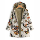 Womens Ladies Winter Long Floral Hooded Jacket Padded Coat Plus Size Top M-4XL