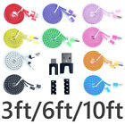 Flat Braided Cable USB Charger Cord Data  For i Phone 5s 6 6s 7 8 Plus X XS SE e