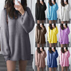 Women's Solid Loose Knitted Winter Latern Sleeve Long Sweater Jumper Blouse Tops