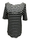 Rafaella Womens Elbow Sleeve Embroidered Blouse Top, Black/White/Stripe