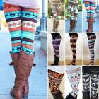 Damen Weihnachten Leggings Thermo Schneeflocke Leggins Winter Warm Strickhose