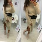 Womens Ladies Chunky Knitted Slit Roll Over High Neck Jumper Midi Party Dress