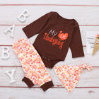 Infant Baby Boy Girl My 1st Thanksgiving Romper Tops+Long Pants Hat Clothes Set