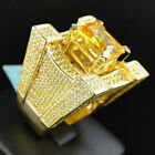 Elvis Presley Concert Square Yellow Crystal Iced Out Bling Gold Plated Men Ring