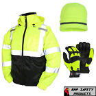 Hi-Vis Insulated Safety Bomber Jacket with Winter Weather Work Gloves/Hat - Lime