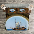 Marine Quilted Bedspread & Pillow Shams Set, Ship Window with Cruise Print image