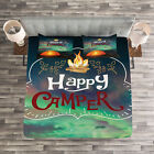 Happy Camper Quilted Bedspread & Pillow Shams Set, Camping Theme Print image