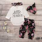 Newborn Baby Girl Little Sister Jumpsuit Tops Floral Pants Headband 3PCS Outfits