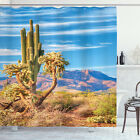 Cactus Shower Curtain Mexican Landscape Theme Print for Bathroom