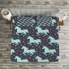 Kids Quilted Bedspread & Pillow Shams Set, Cute Unicorn Spot Stars Print image
