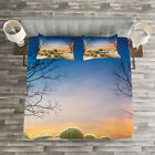 Mexico Quilted Bedspread & Pillow Shams Set, Cactus Balls on Mountain Print image
