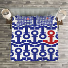 Marine Quilted Bedspread & Pillow Shams Set, Ship Journey Sea Ocean Print image
