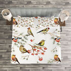 Animal Quilted Bedspread & Pillow Shams Set, Colorful Forest Birds Print