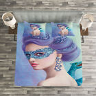 Winter Quilted Bedspread & Pillow Shams Set, Fantasy Snow Queen Print image