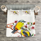 Nature Quilted Bedspread & Pillow Shams Set, Birds on the Branches Print