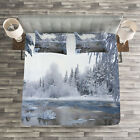 Winter Quilted Bedspread & Pillow Shams Set, Nordic Snow Nature Icy Print image